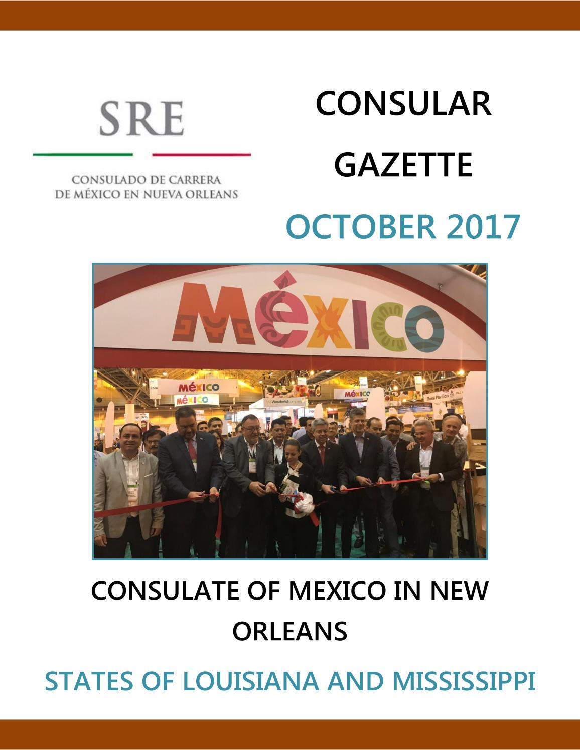 Consular Gazette October 2017, Consulate of Mexico in New Orleans by ...