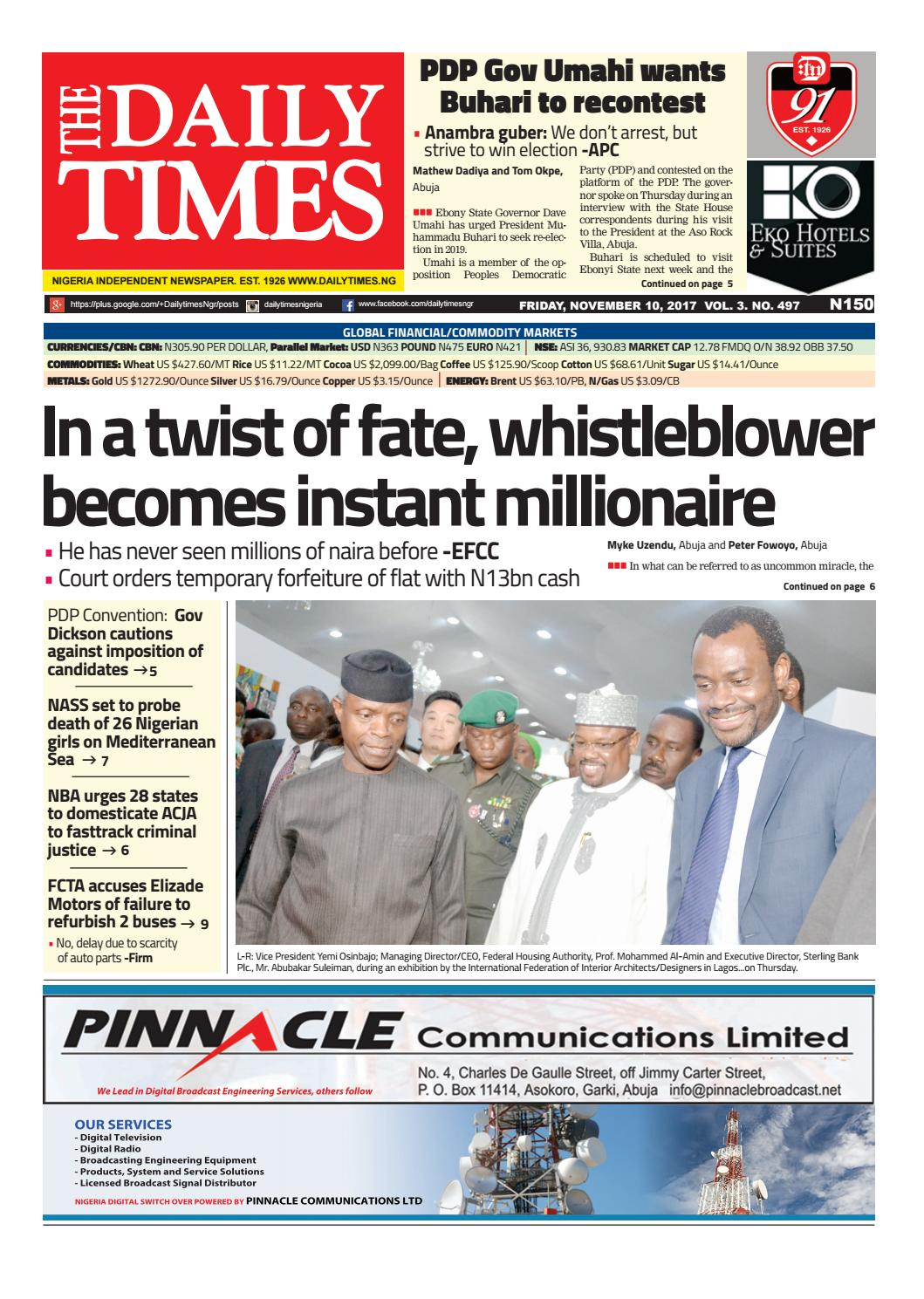 Dtn 10 11 17 by Daily Times of Nigeria - issuu