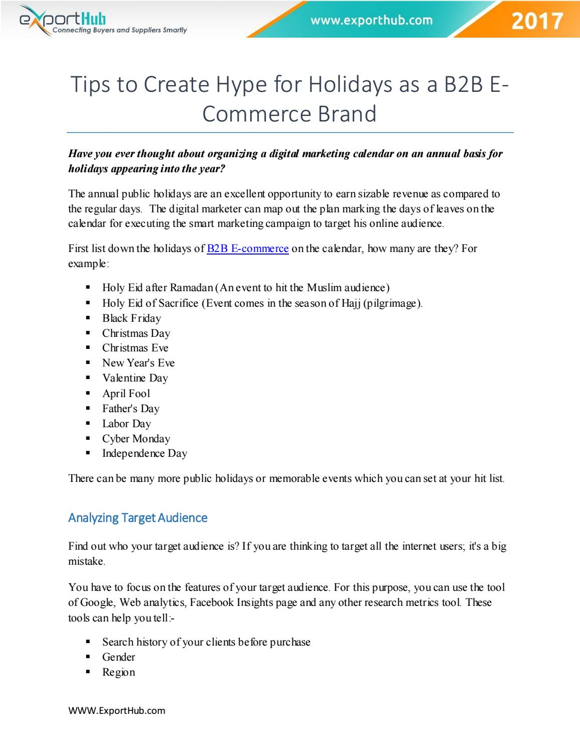 Tips to Create Hype for Holidays as a B2B E-Commerce Brand by ...