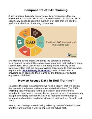 Sas training in mumbai by techdata - issuu
