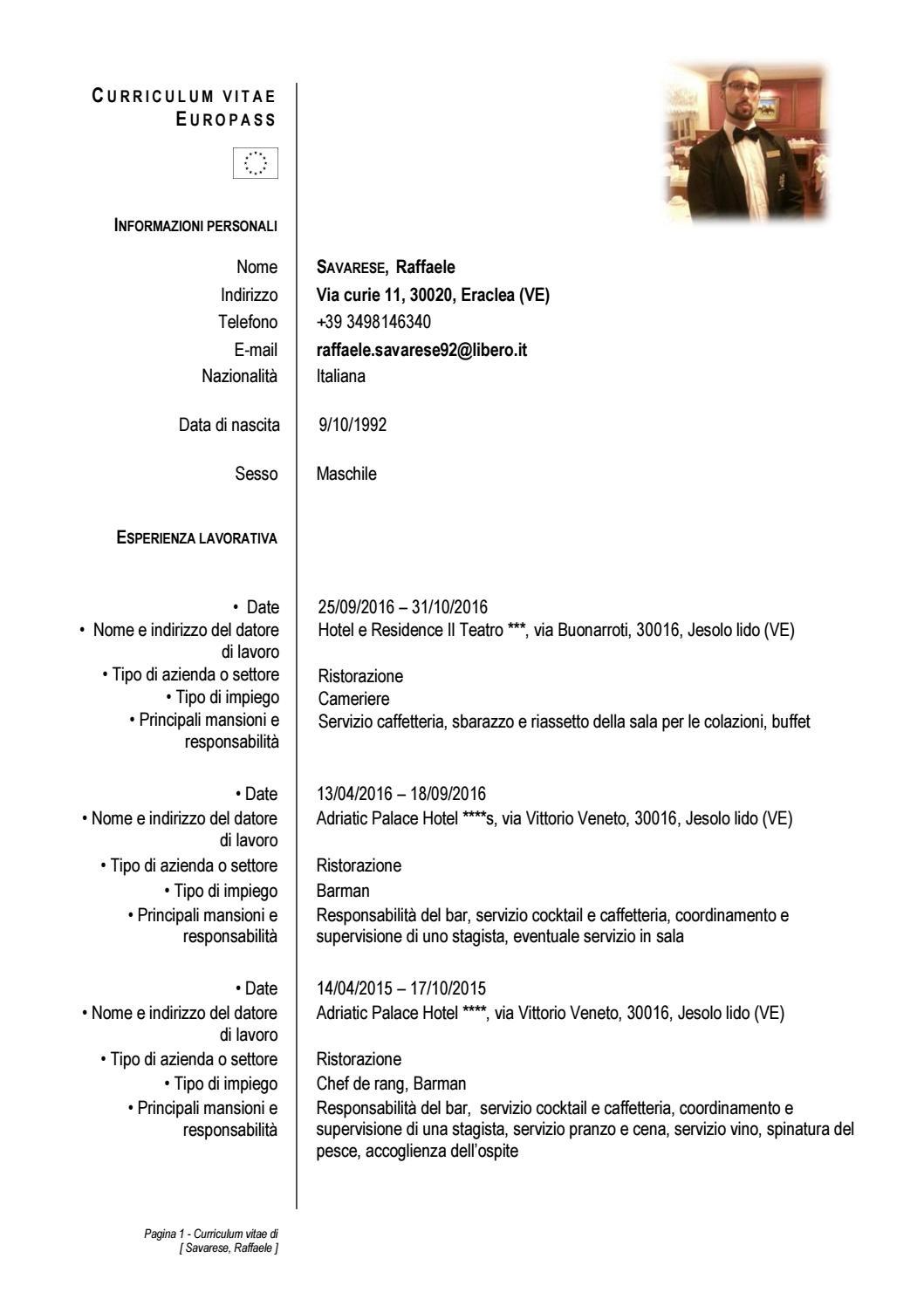 Curriculum Europeo Con Firma Copia By Allium Restaurant Issuu