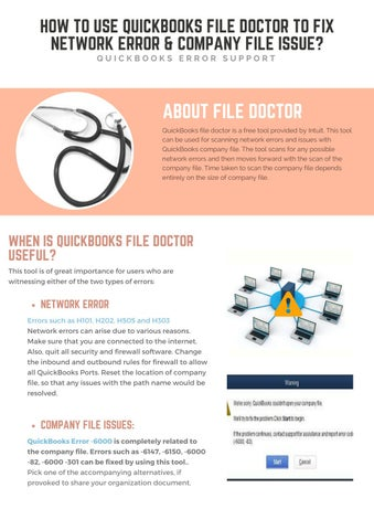 how to use quickbooks file doctor to fix network error company