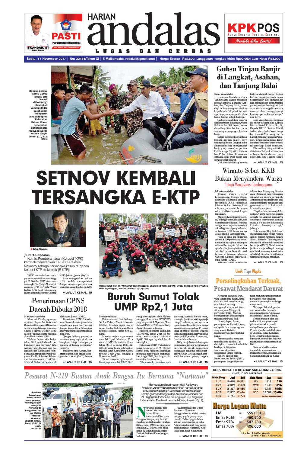 Epaper andalas edisi sabtu 11 november 2017 by media andalas