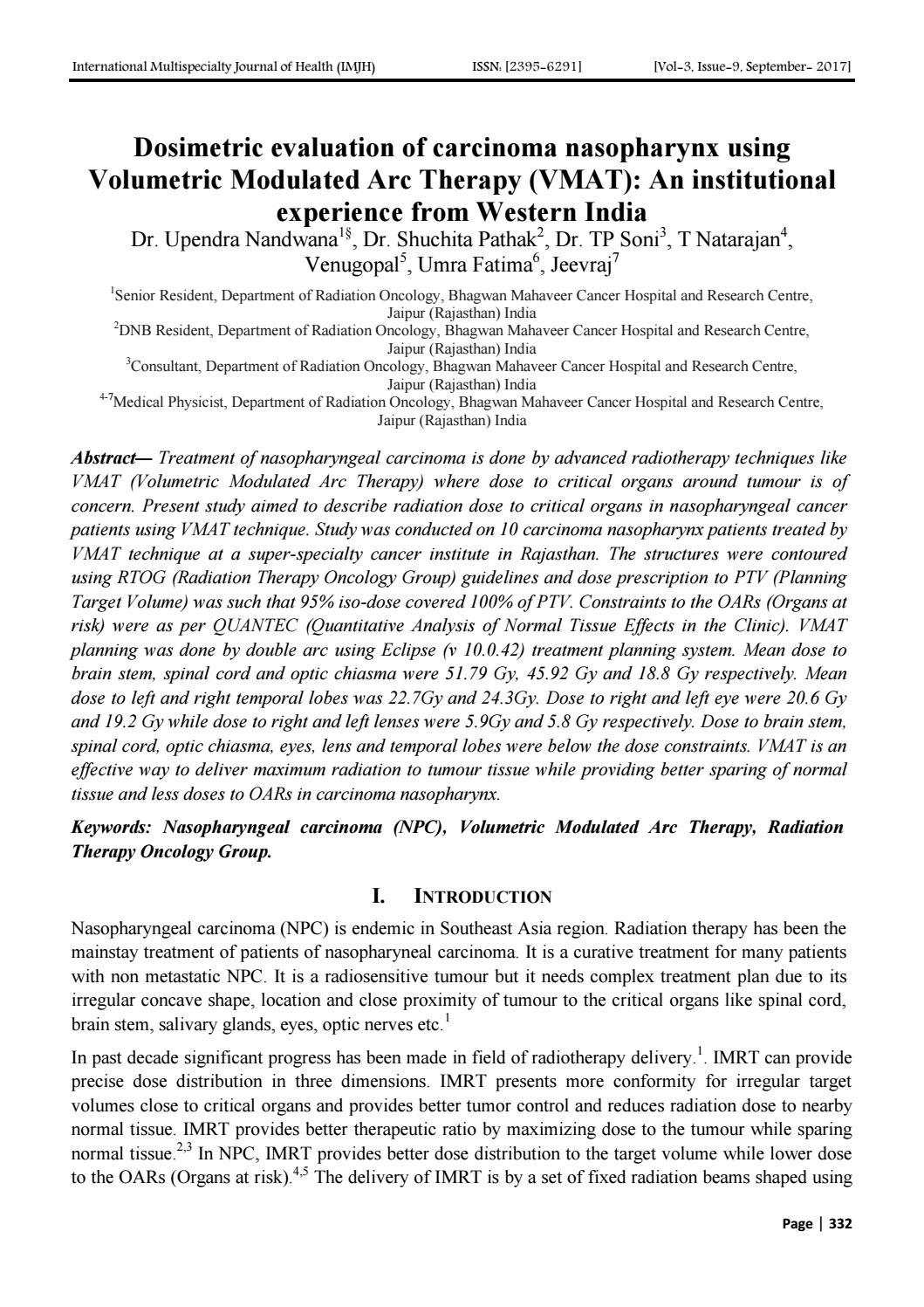 Dosimetric evaluation of carcinoma nasopharynx using