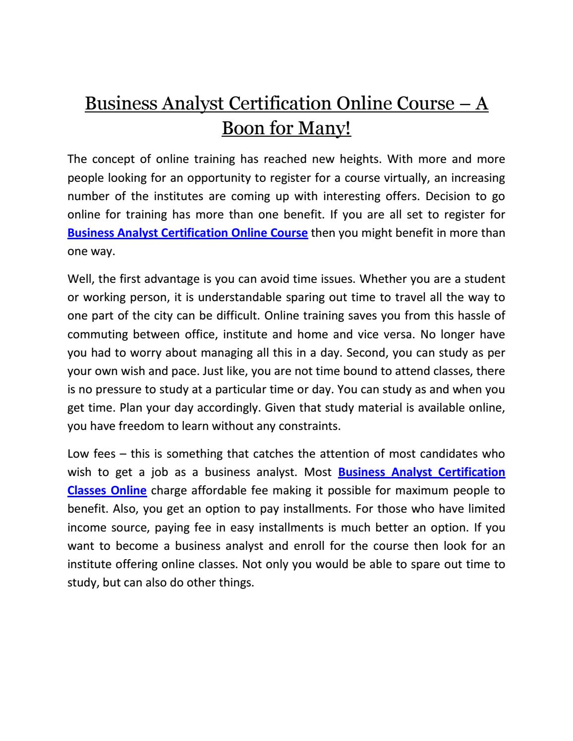 Business Analyst Certification Course A Boon For Many By
