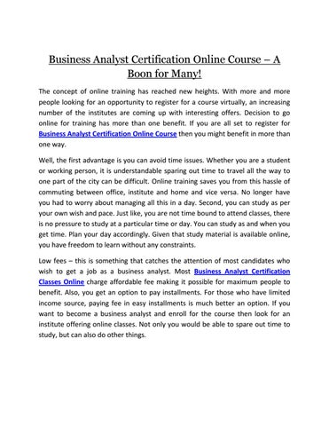 Business analyst certification course a boon for many by ...
