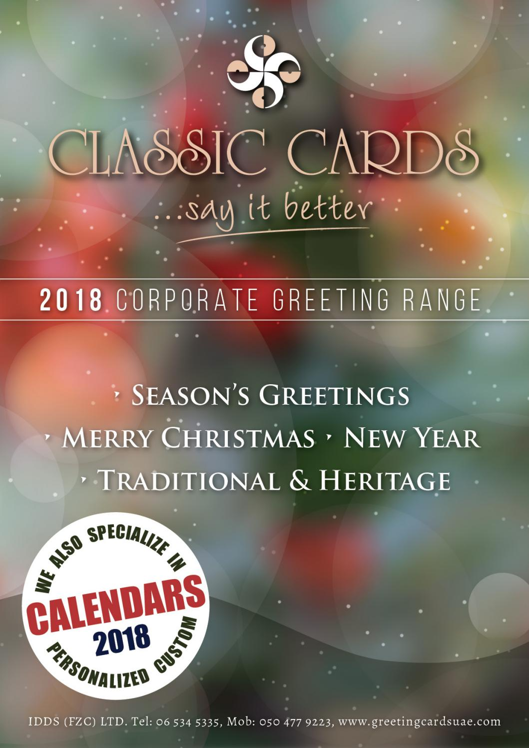 2018 Seasons Greetings Catalogue New By Classic Greeting Cards