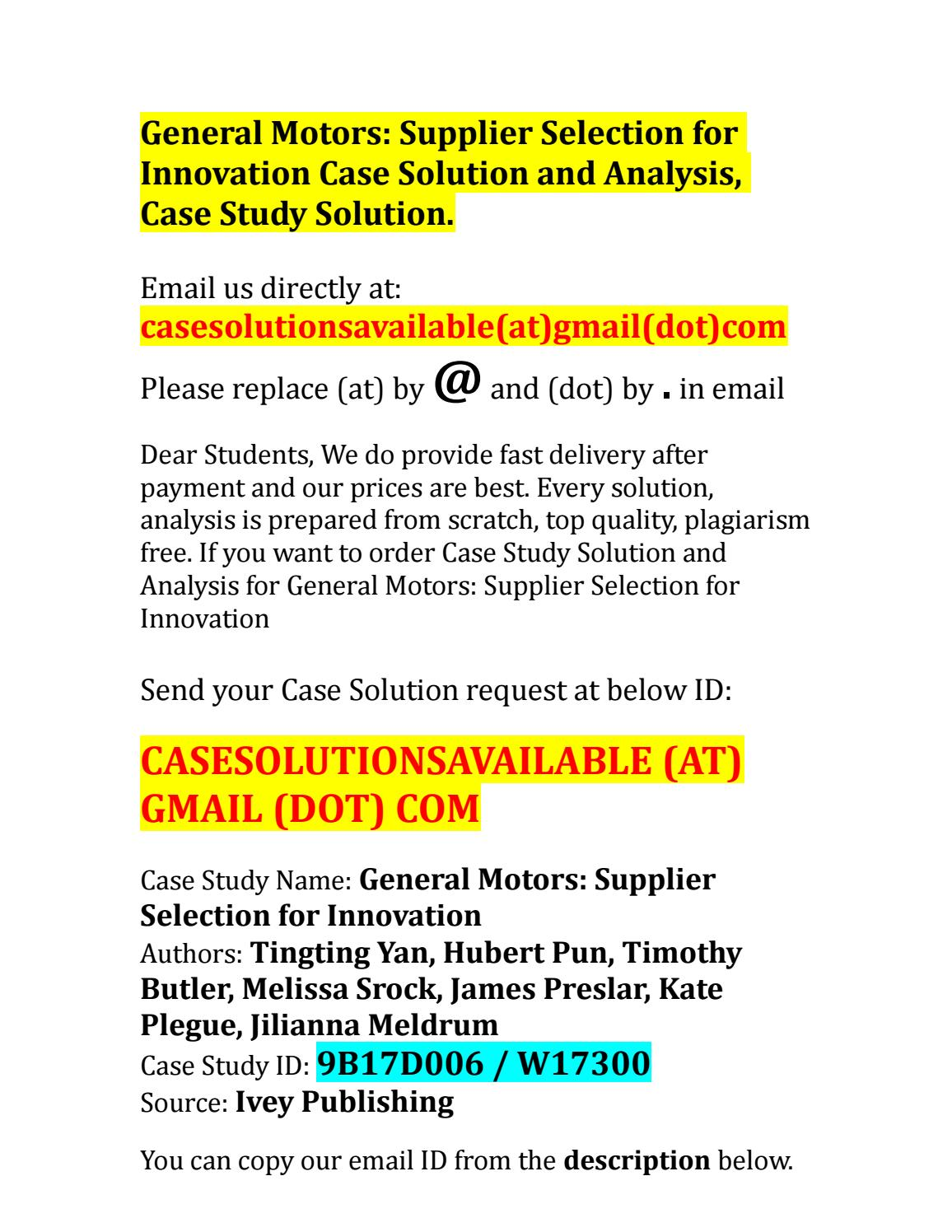 Case Solution for General Motors Supplier Selection for
