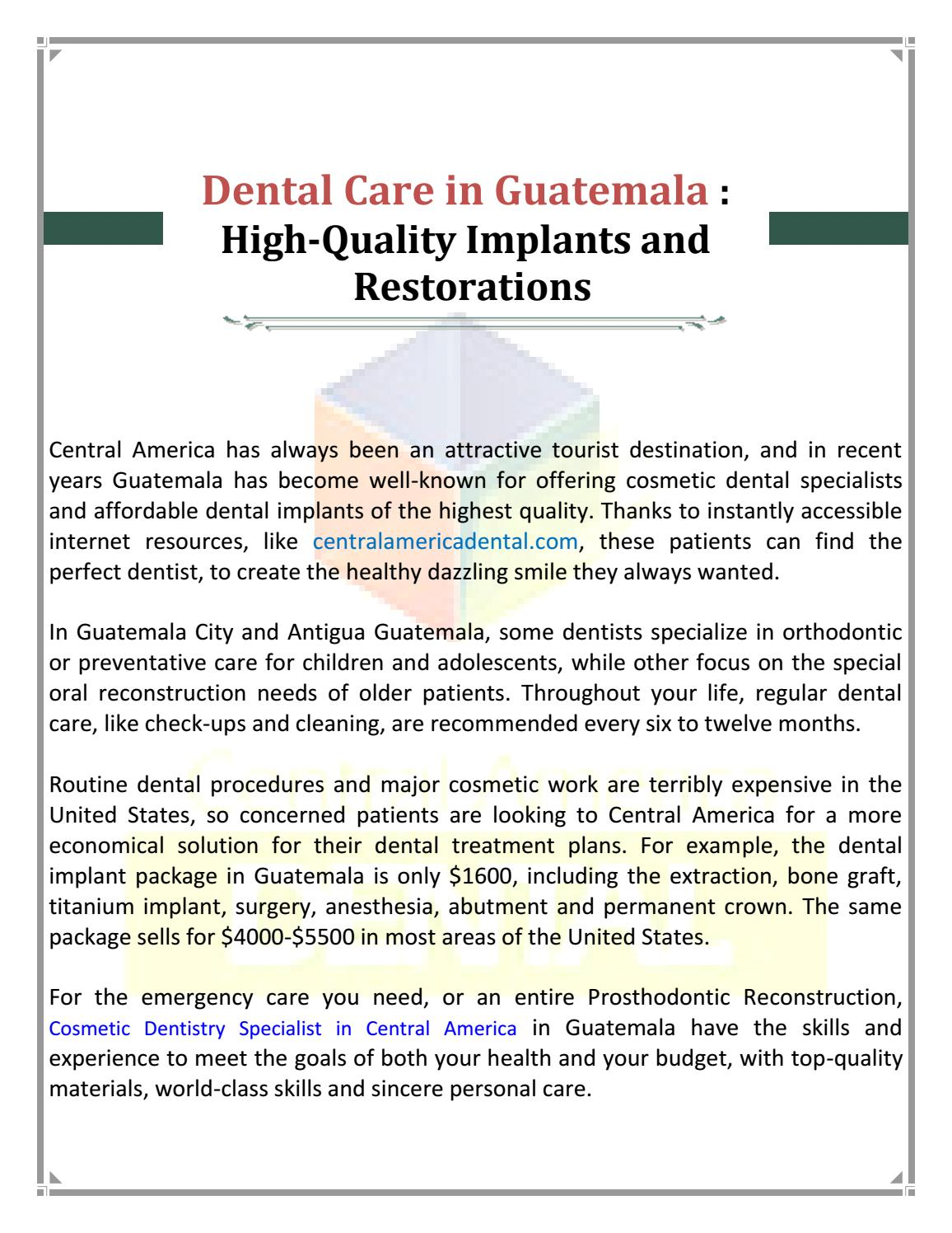 Cosmetic Dentistry Specialist In Central America By