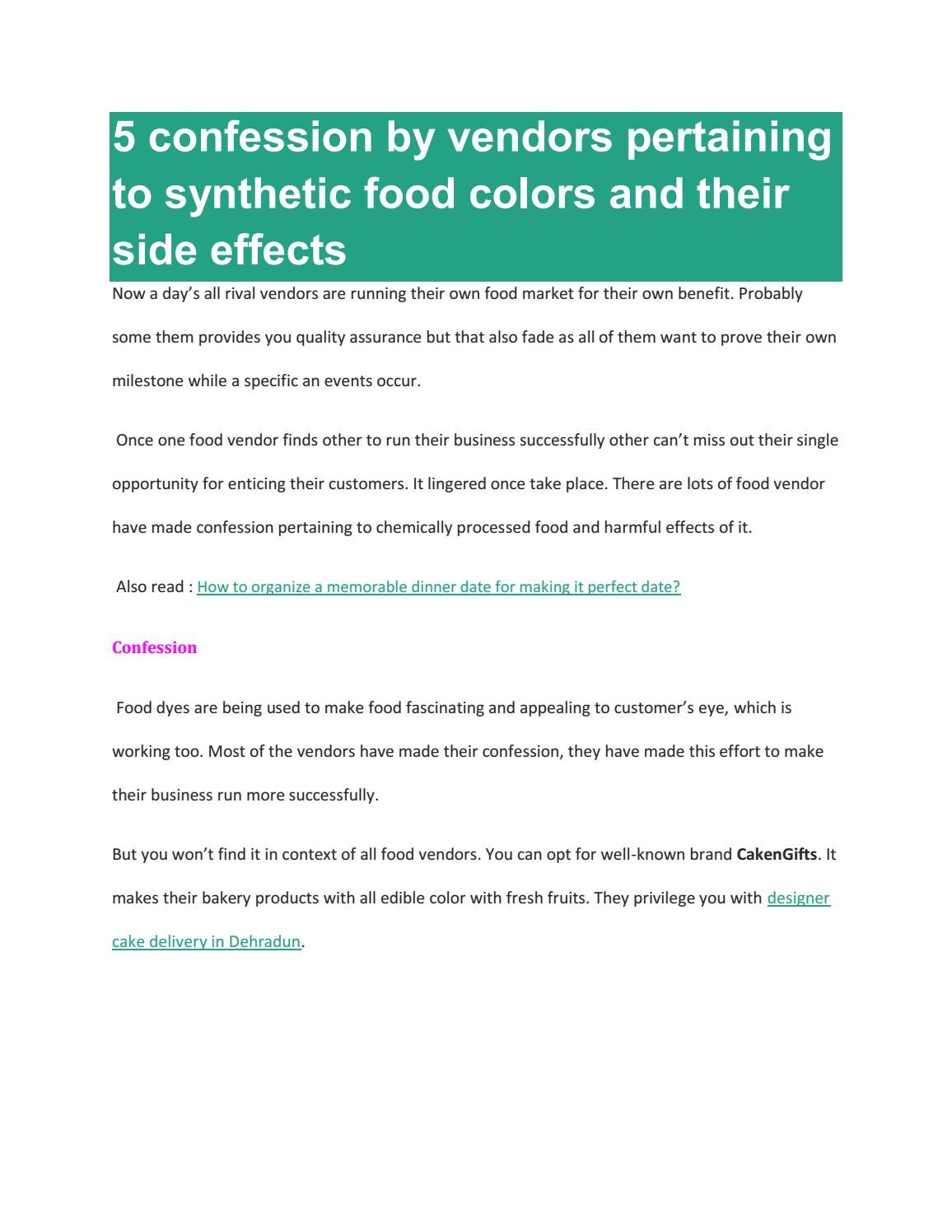 5 confession by vendors pertaining to synthetic food colors ...