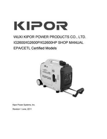 Kipor ig2600 storing handleiding by www Powerfulproducts nl - issuu