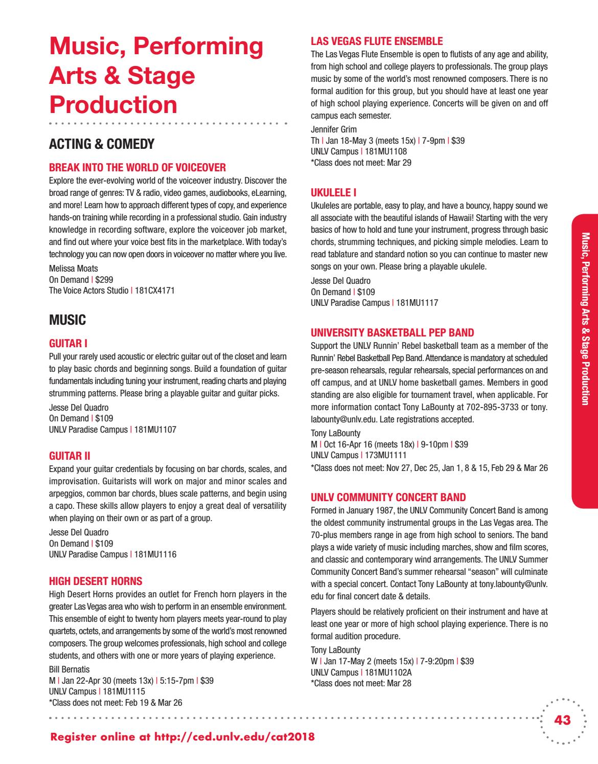 UNLV Spring 2018 Continuing Education Catalog by UNLV