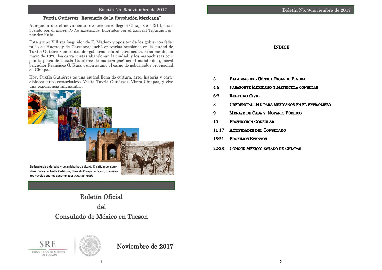 Boletín Oficial del Consulado de México en Tucson No  8/noviembre de 2017