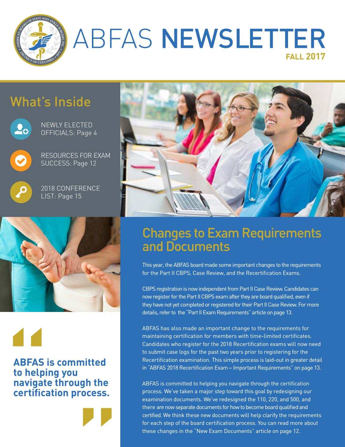 Abfas Fall 2017 Newsletter By Abfas Issuu