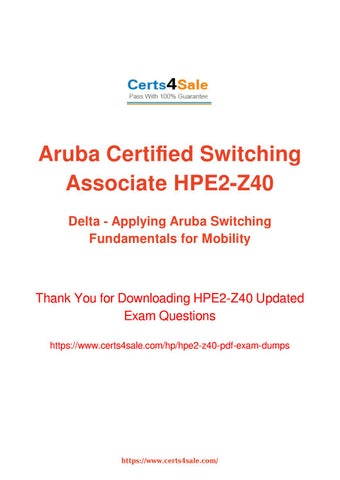 HPE2-Z40 - Download Free Demo of HPE2-Z40 Exam Dumps by