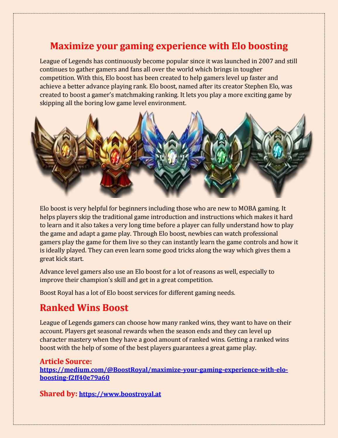 Maximize your gaming experience with elo boosting by Boost