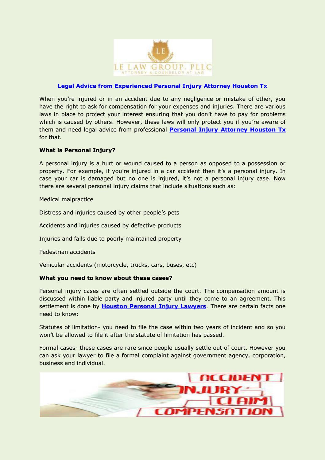 Legal advice from experienced personal injury attorney houston tx by legal advice from experienced personal injury attorney houston tx by lelawtx issuu spiritdancerdesigns Image collections