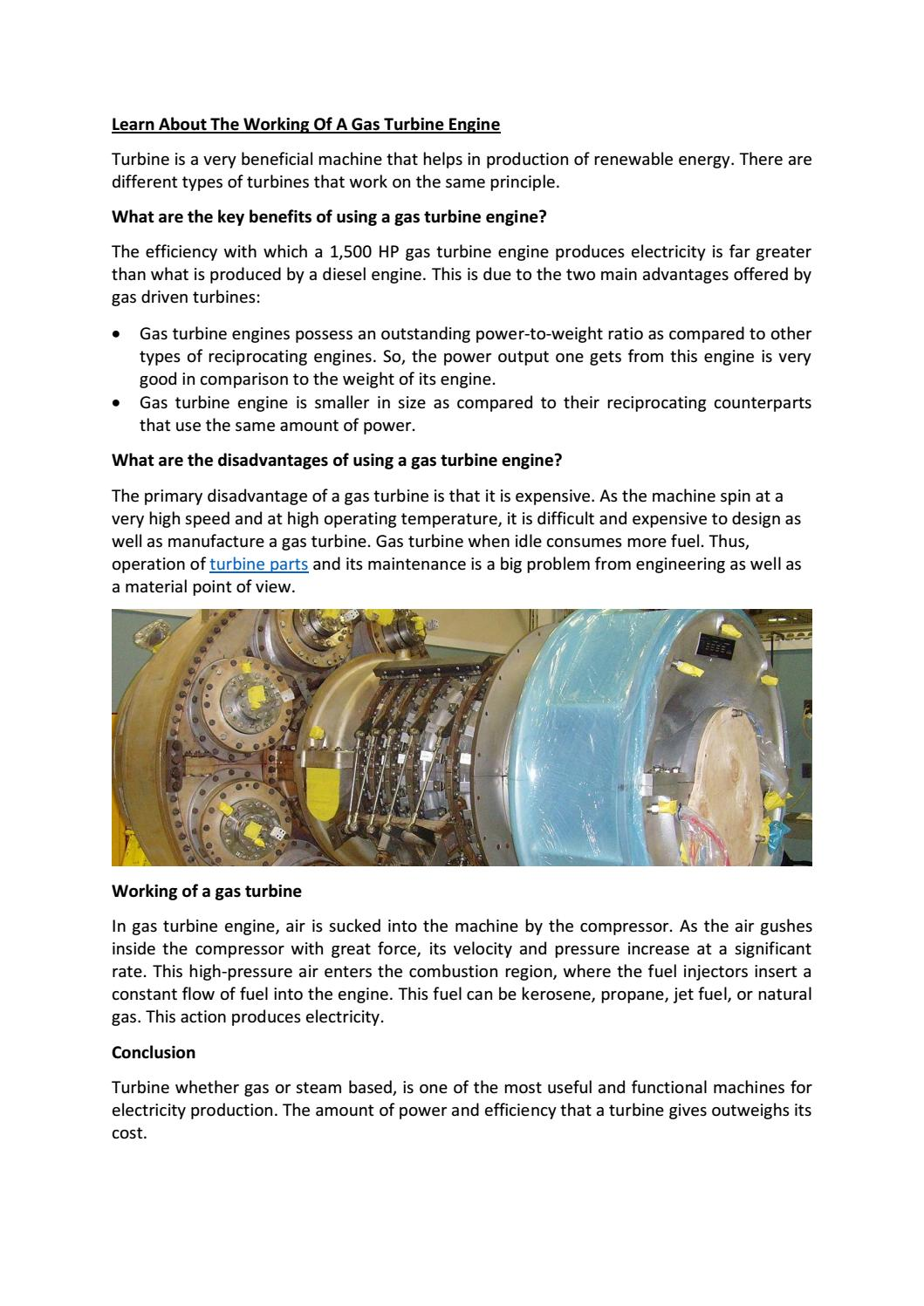 Learn about the working of a gas turbine engine by GRIFFIN