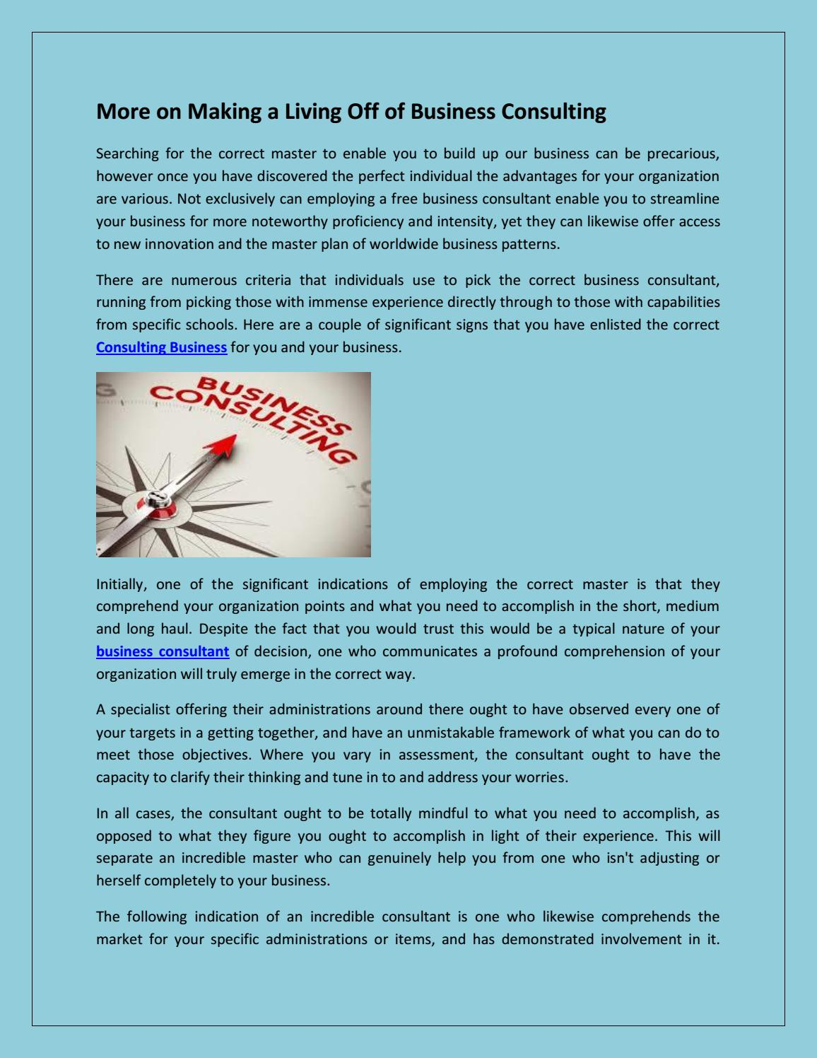 More On Making A Living Off Of Business Consulting By Imaginerya  Issuu