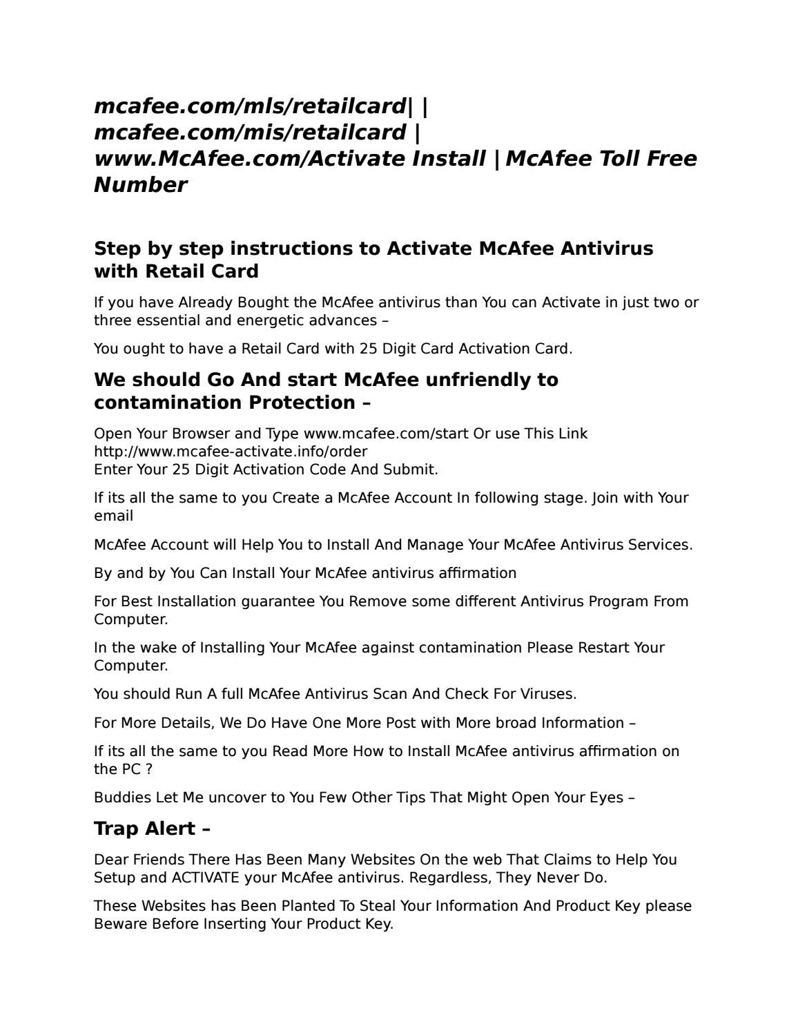 Activate website for McAfee MLS www mcafee com/mls