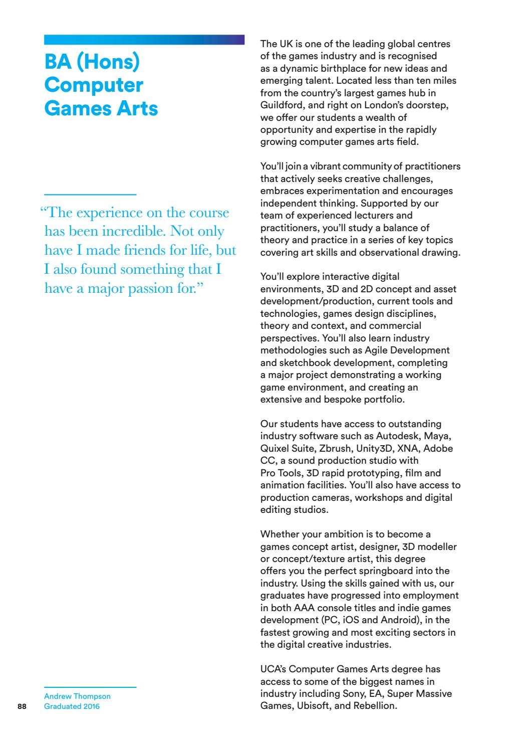 UCA Prospectus 2018 by University for the Creative Arts - issuu