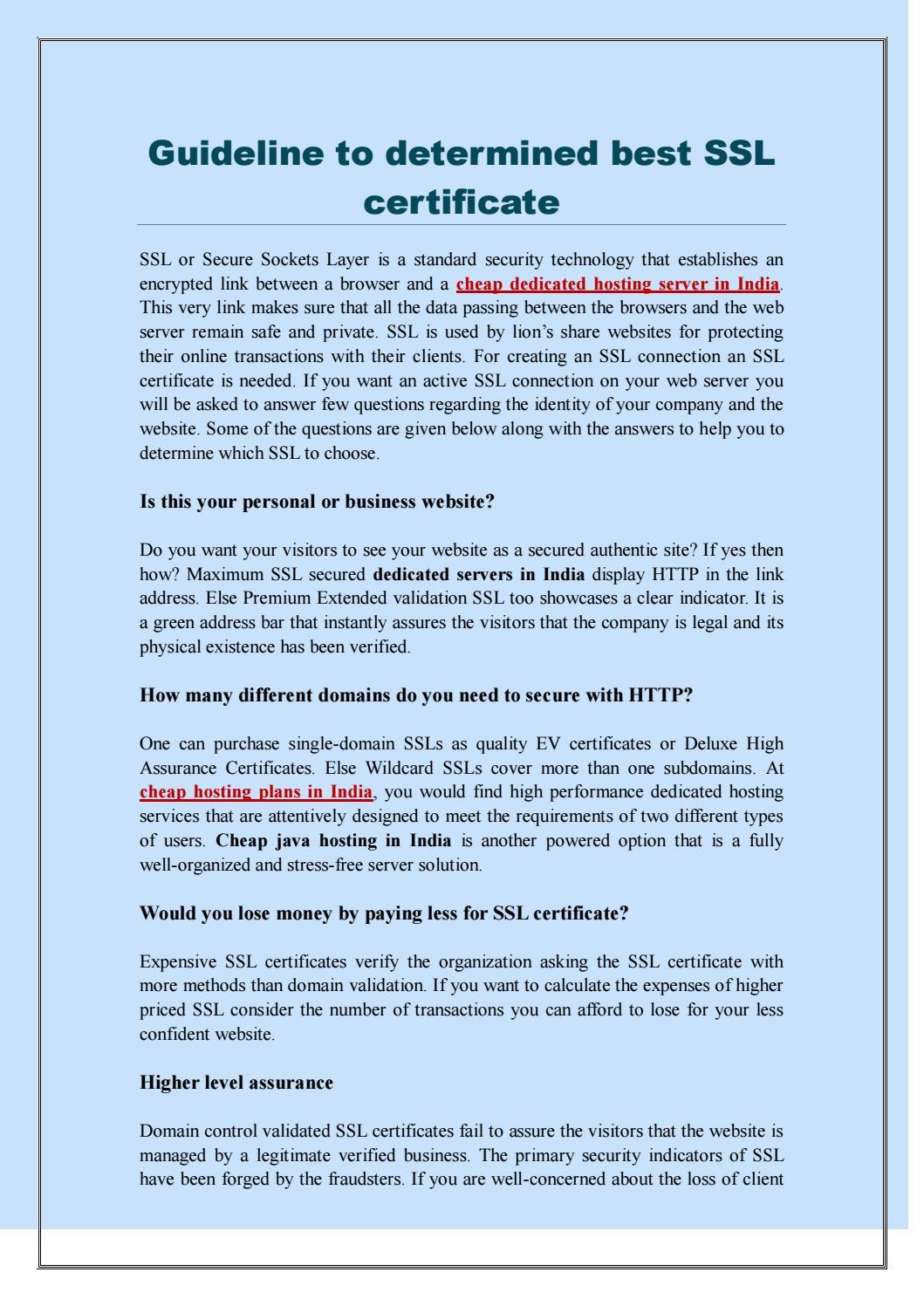 Guideline To Determined Best Ssl Certificate By Hostitsmart Issuu