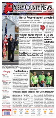 November 14 2017 The Posey County News By The Posey County News