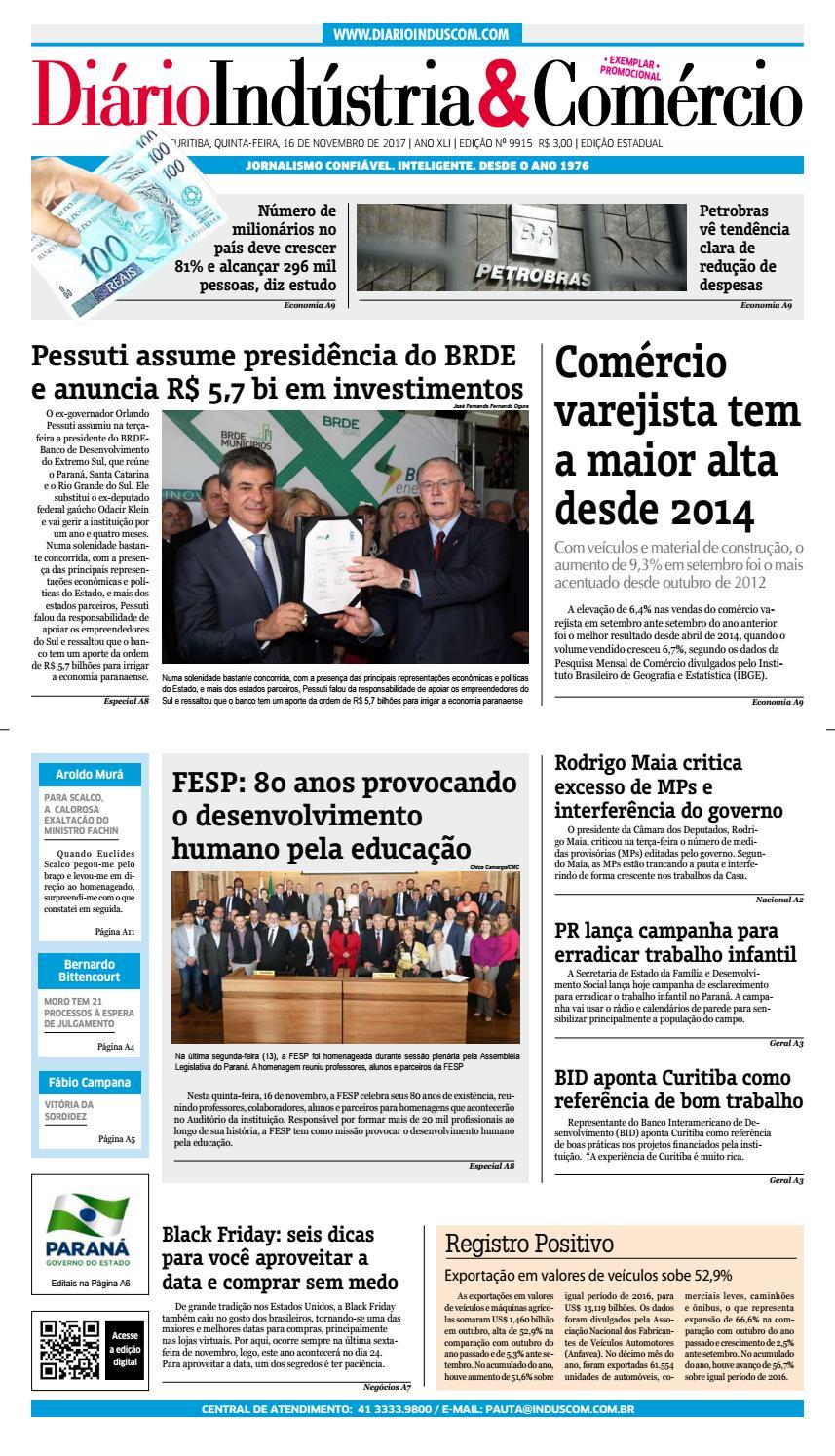 37ca03178 Diário Indústria Comércio - 16 de novembro de 2017 by Diário Indústria    Comércio - issuu
