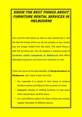 Know The Best Things About Furniture Rental Services In Melbourne ...