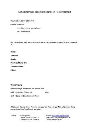 Anmeldeformular Yoga Wochenende by hilgenfeld - issuu
