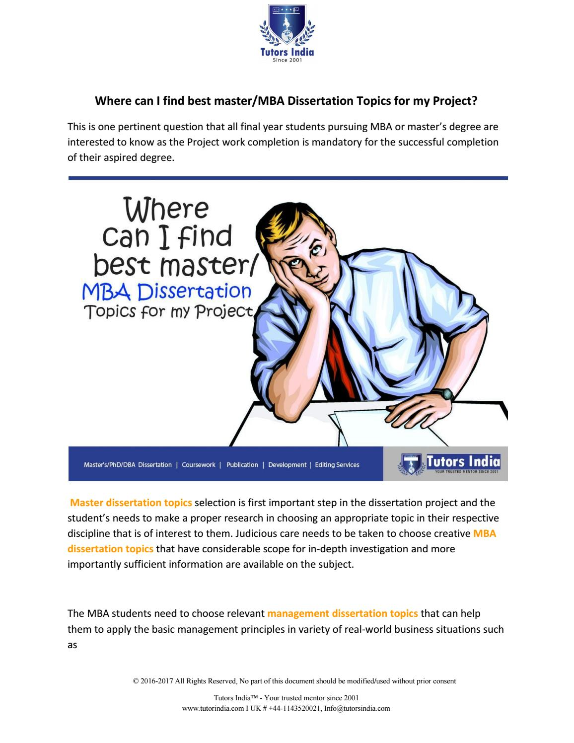 dissertation projects for mba marketing When you have capstone project topics mba, you can choose what topic you will discuss when it comes to writing of mba dissertation, you need to have effective tips to become successful the time you know some capstone project topics for mba marketing, begin doing a research.