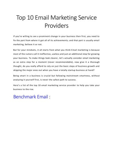 Top 10 Email Marketing Service Providers If Youâ X20ac X2122 Re Willing To See A Prominent Change In Your Business Then First You Need Fix The Part