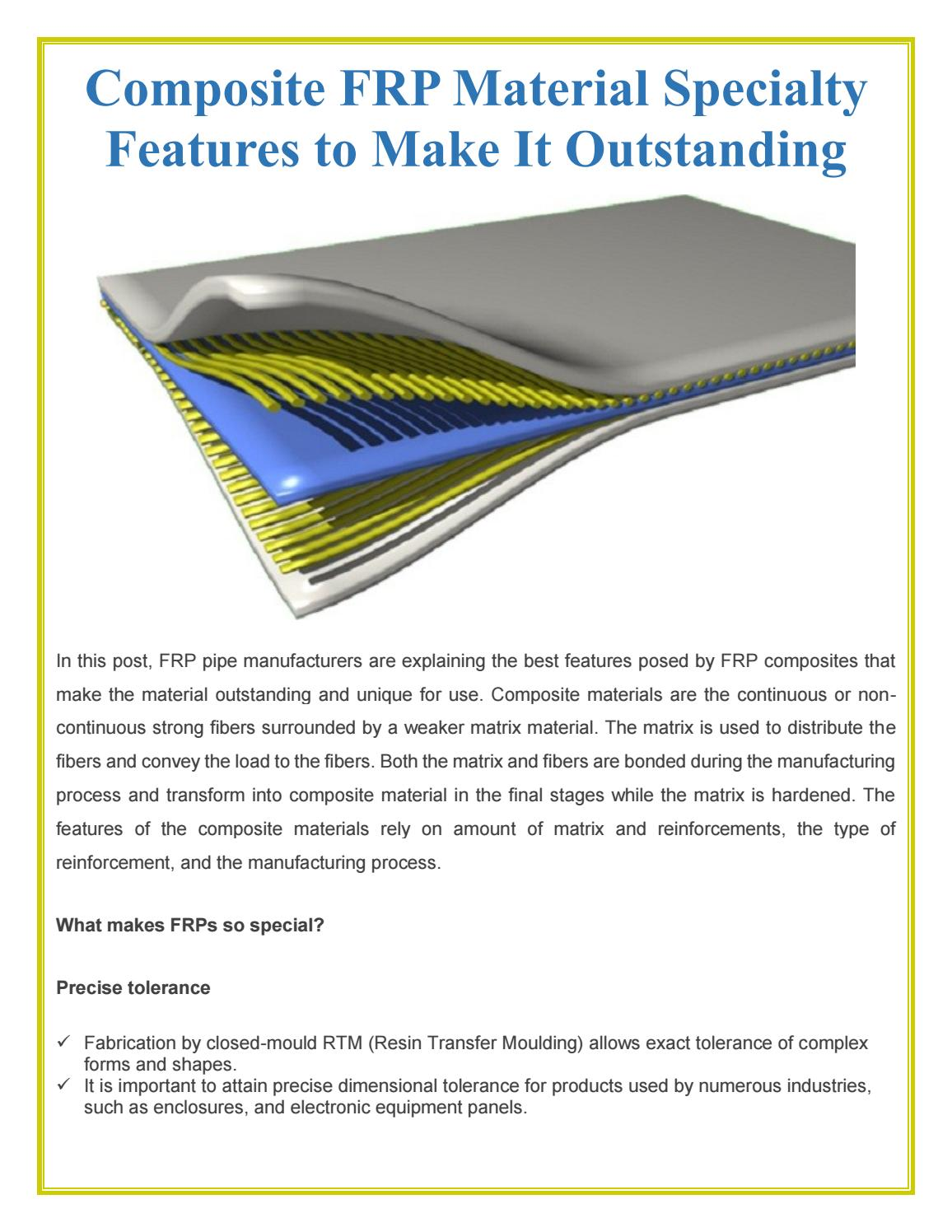 Composite frp material specialty features to make it
