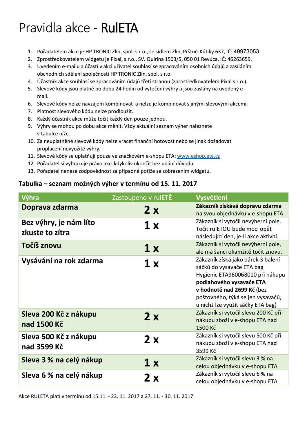 Znění pravidel akce RulETA ve značkovém eSHOPU ETA by ETA ČR - issuu b4b77709d1