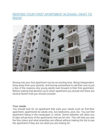 RENTING YOUR FIRST APARTMENT IN DHAKA  WHAT TO KNOW