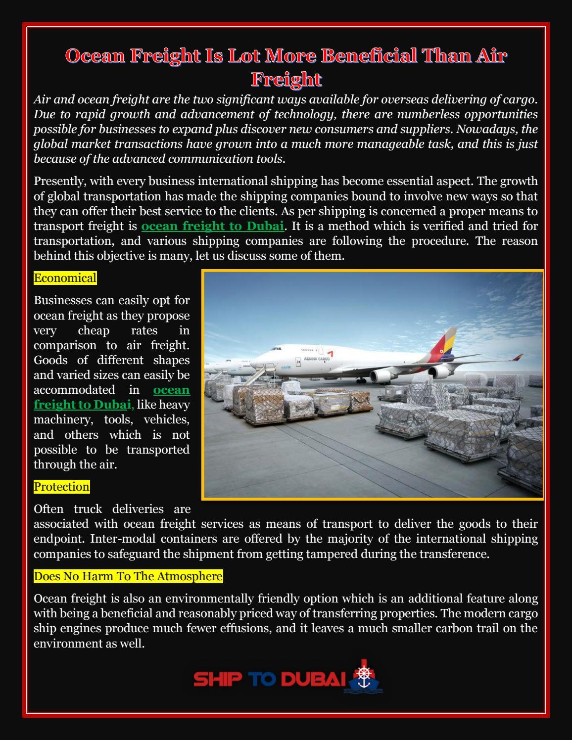 Ocean freight to dubai by Shiptodubai - issuu
