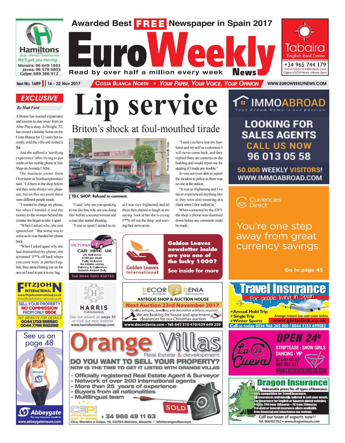 Ana Alice Nicolau Nua euro weekly news - costa blanca north 16 – 22 november 2017