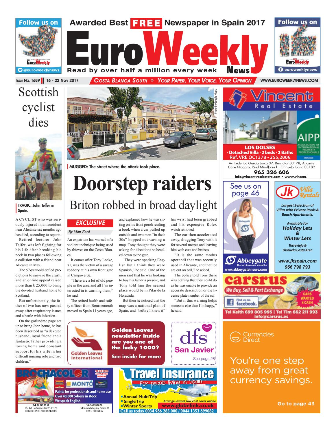 innovative design 9d858 5de43 Euro Weekly News - Costa Blanca South 16 – 22 November 2017 Issue 1689
