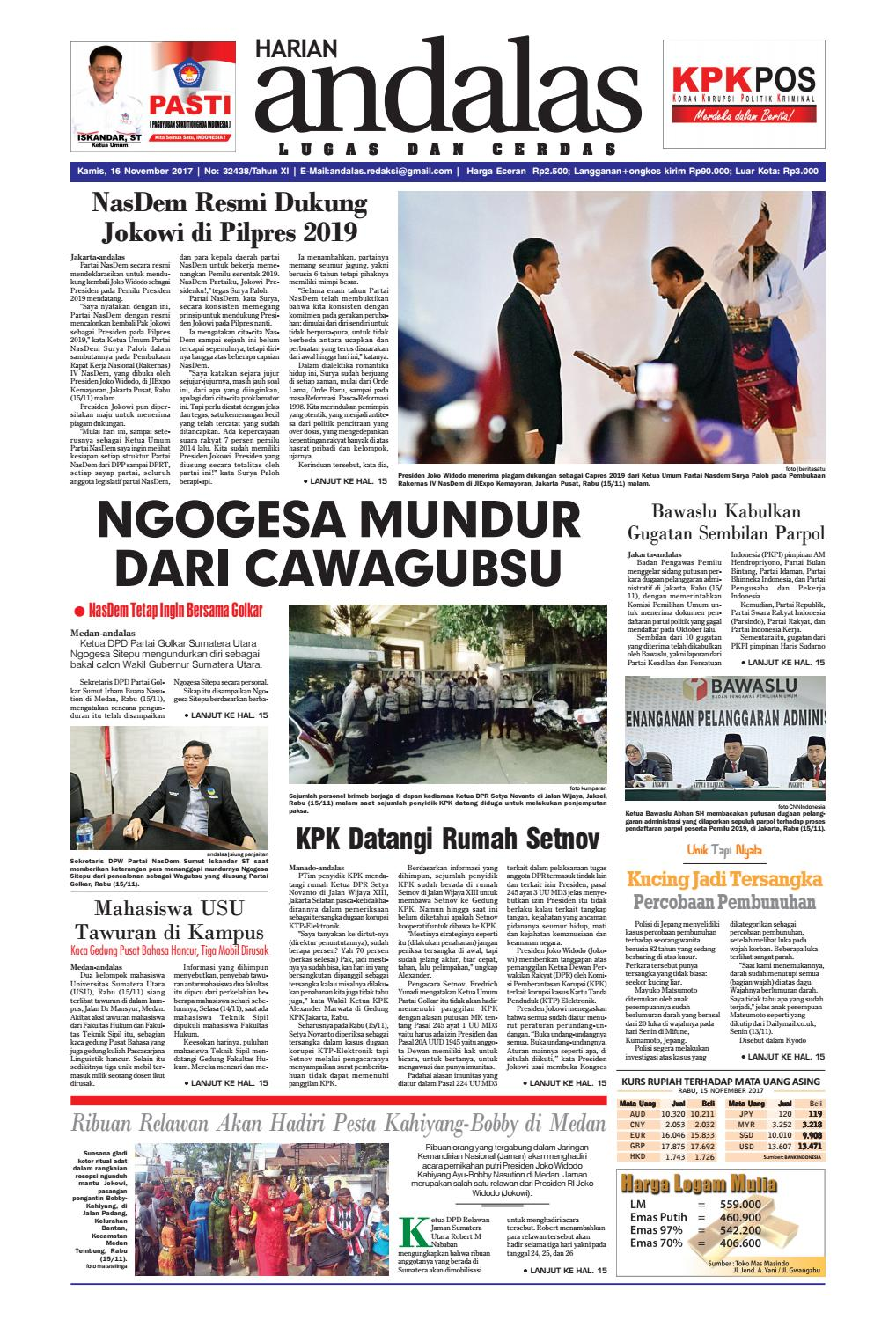 Epaper andalas edisi kamis 16 november 2017 by media andalas
