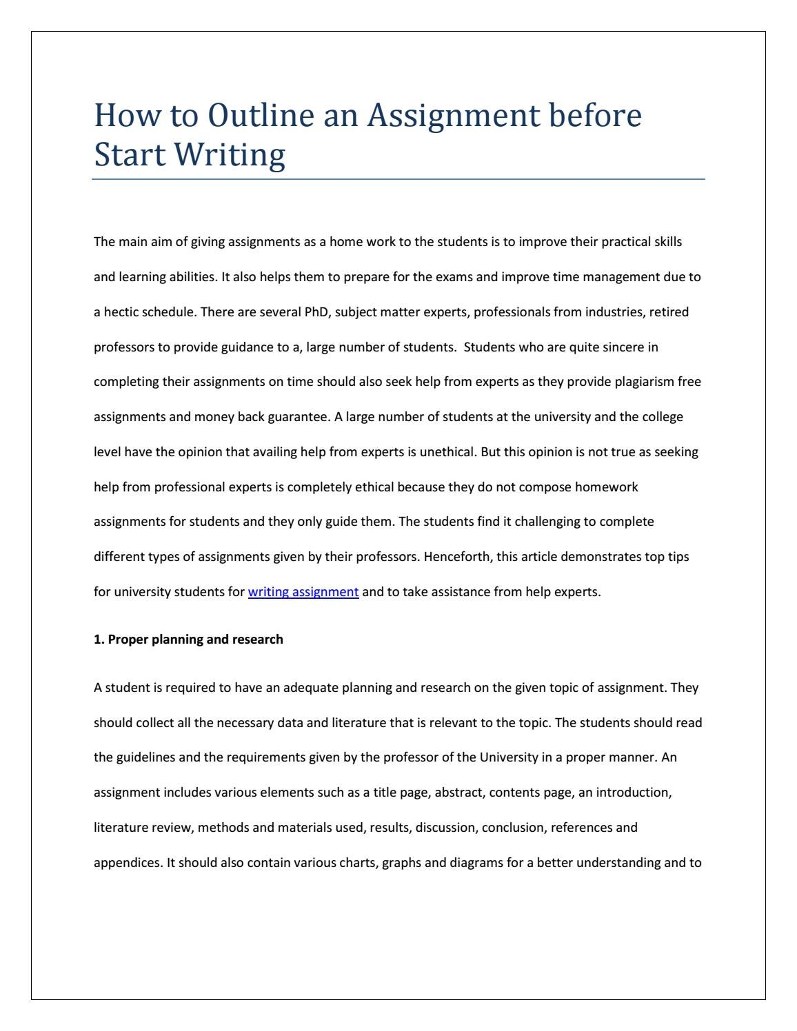 How To Start An Assignment For University