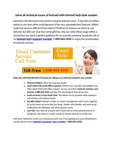 Solve All Technical Issues Of Hotmail With Help Desk Number Is The Foremost Mail Services Using By Users