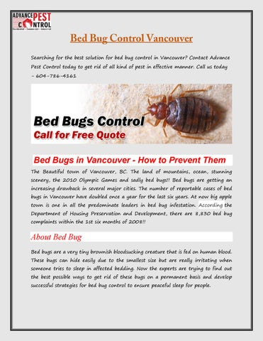 Searching For The Best Solution Bed Bug Control In Vancouver Contact Advance Pest Today To Get Rid Of All Kind Effective Manner