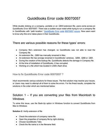 Quickbooks error 80070057 by Daniel Cooper - issuu
