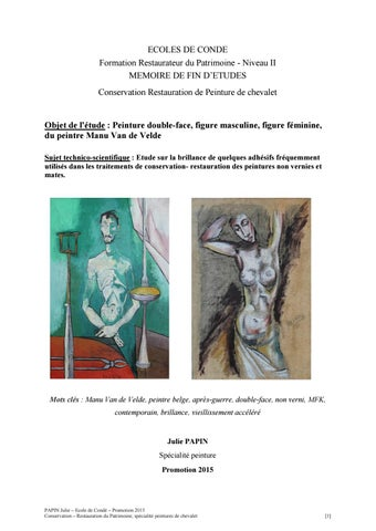 ECOLES DE CONDE Formation Restaurateur du Patrimoine - Niveau II MEMOIRE DE  FIN D ETUDES Conservation Restauration de Peinture de chevalet 338b79d7214