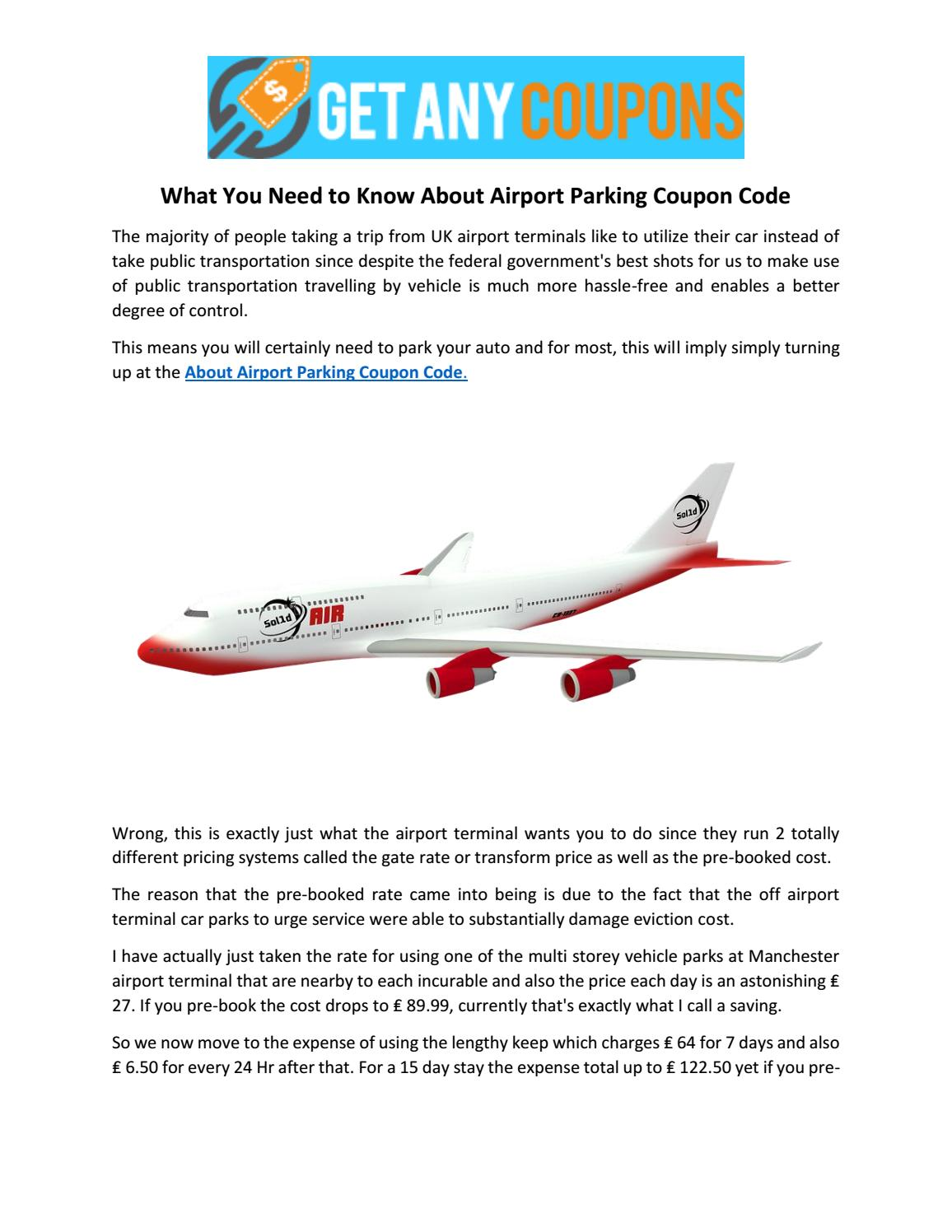 What You Need To Know About Airport Parking Coupon Code By