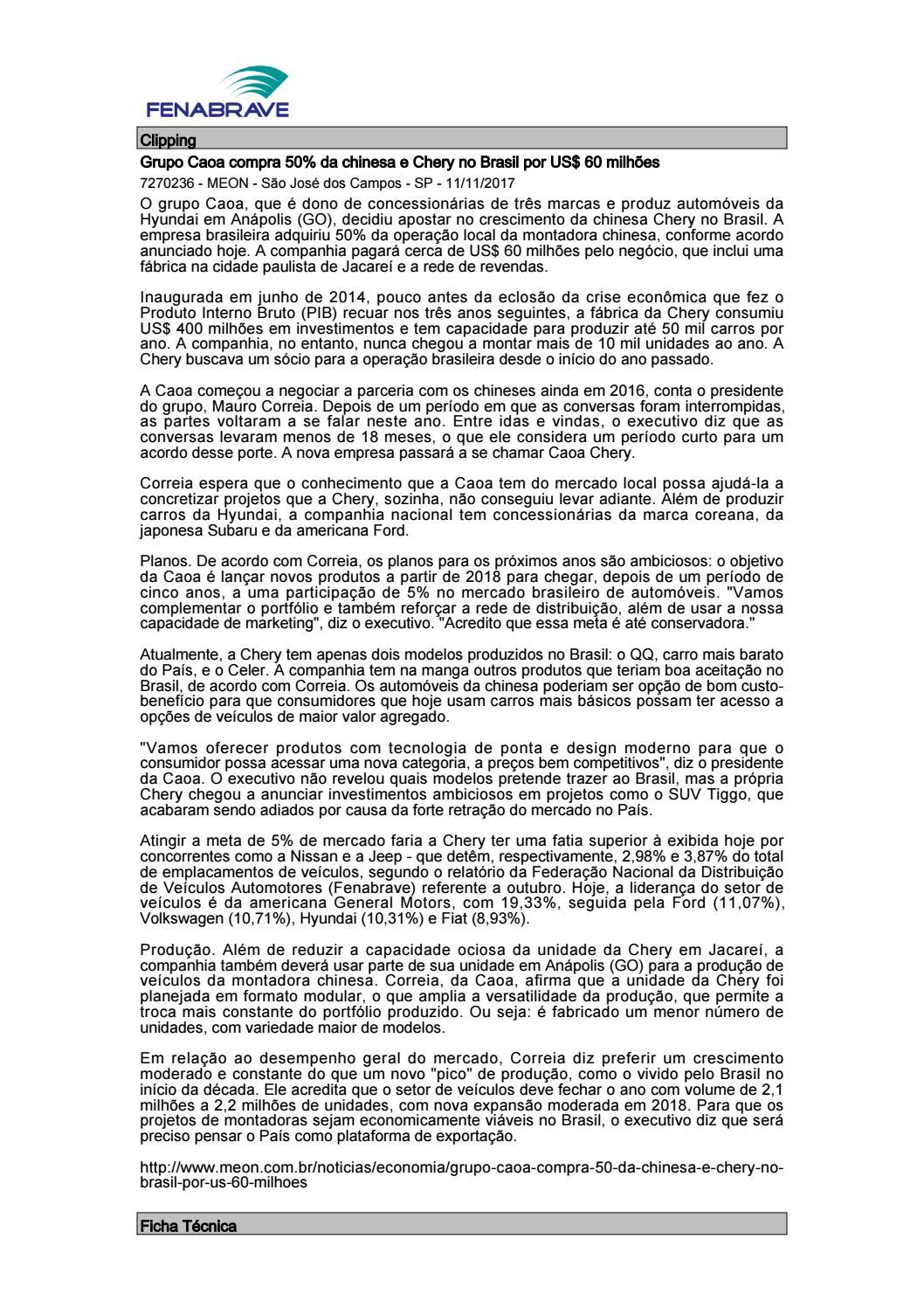 Clipping Fenabrave 13.11.2017 by MCE Comunicação - issuu 3f63747e27f