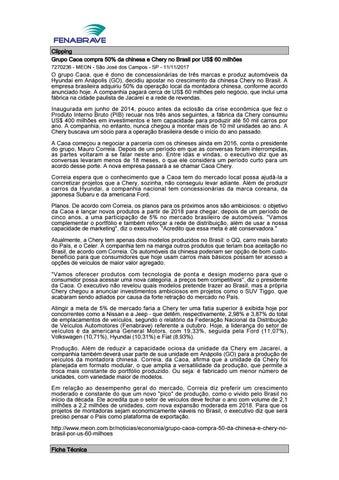 Clipping Grupo Caoa compra 50% da chinesa e Chery no Brasil por US  60  milhões 7270236 - MEON - São José dos Campos - SP - 11 11 2017 237ae03c7d1
