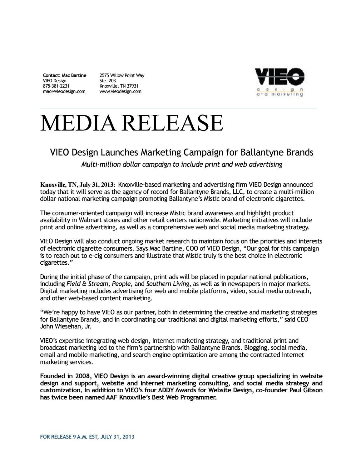 VIEO-Ballantyne Brands Media Release by Emily Winsauer - issuu