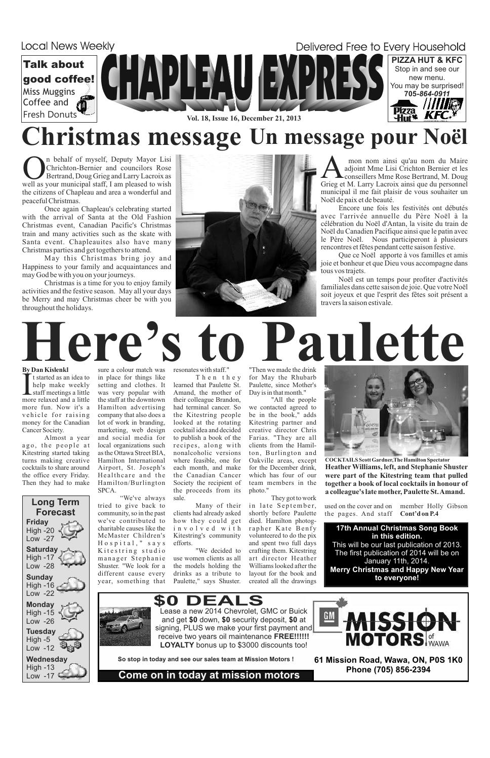 12212013 December 21 2013 by The Chapleau Express - issuu