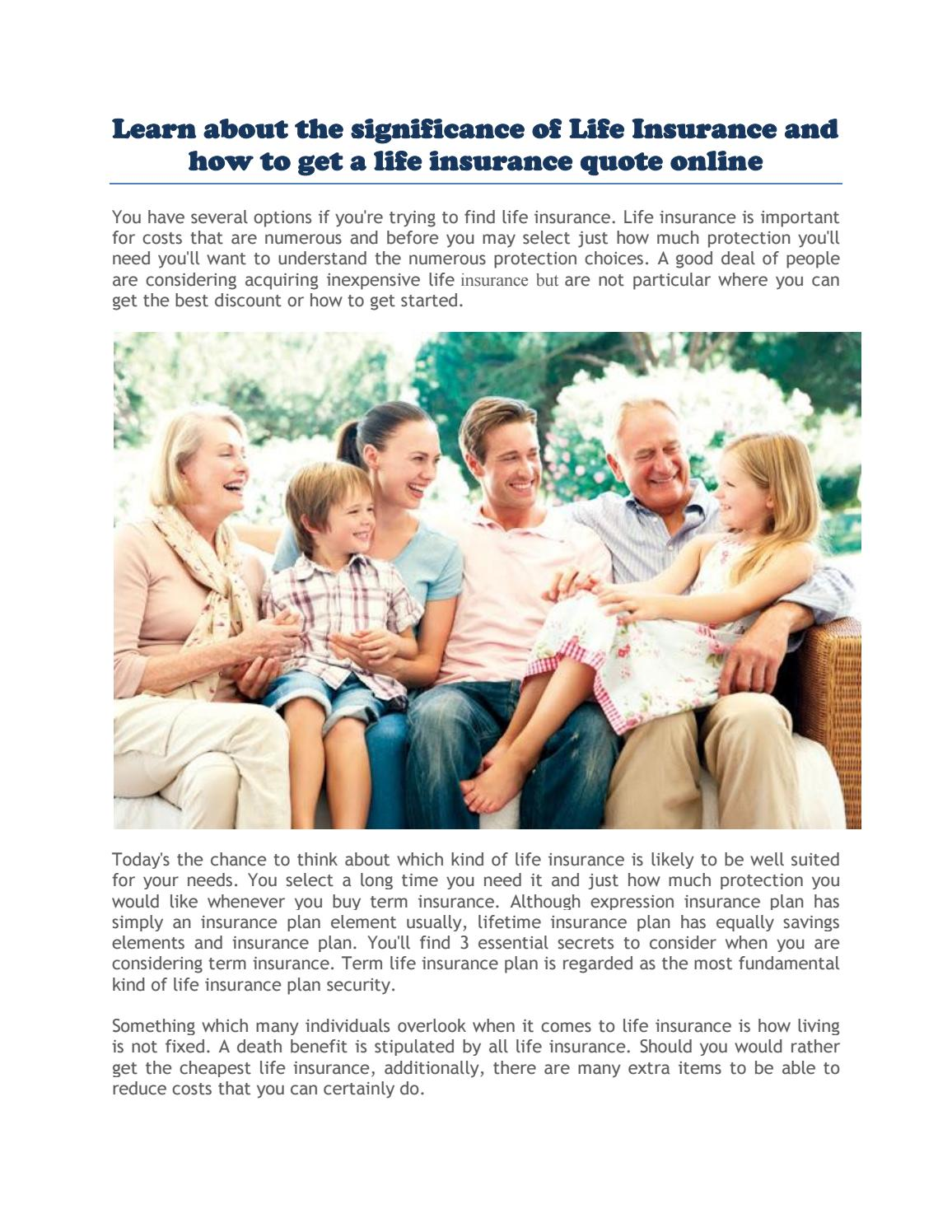 Get A Life Insurance Quote Online By Life Quote   Issuu